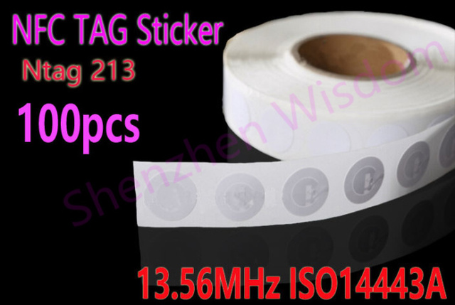 Free Shipping 100pcs/Lot Ntag213 NFC TAG Sticker 13.56MHz ISO14443A NTAG 213 NFC tag Universal Lable for all NFC enabled phones