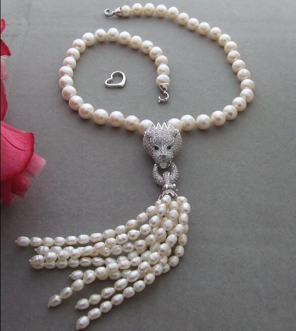 Charming 11 MM Pearl&Rhinestone Pendant Necklace
