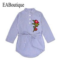 EABoutique 2017 New Blue White striped rose chinese embroidery girls winter dress long sleeve