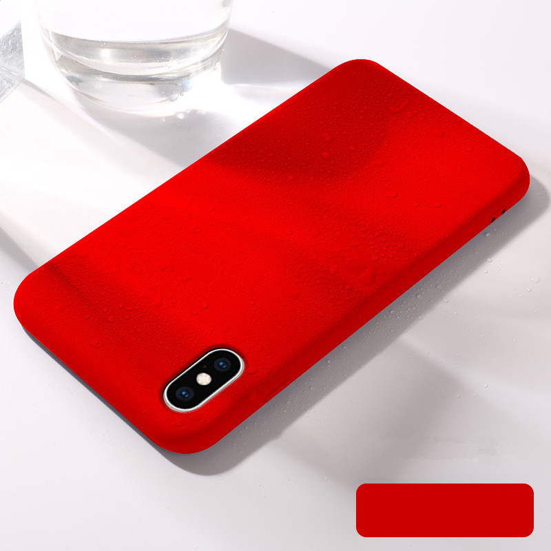 Liquid Silicone Case For iPhone X XS Ultra Slim Back Cover Luxury protective cover For iphone 8 7 6S 6 S Plus XS XR MAX case in Fitted Cases from Cellphones Telecommunications