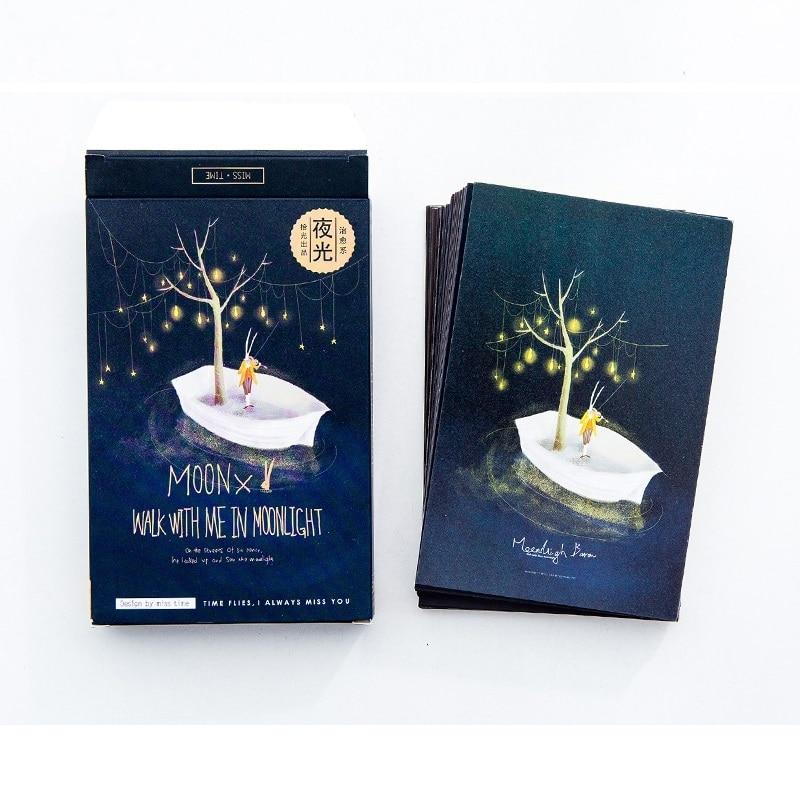 30 Sheets/Set Moonlight Baron Luminous Postcard Greeting Card Message Card Birthday Gift Card30 Sheets/Set Moonlight Baron Luminous Postcard Greeting Card Message Card Birthday Gift Card