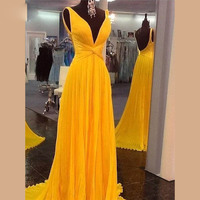 NEW 2016 Sexy Backless Prom Dresses Vibrant Yellow Chiffon Long Women Dress Vestido De Festa