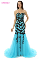 Dressgirl Turquoise Elegant Evening Dresses 2017 Mermaid Sweetheart Tulle Lace Appliques Long Evening Gown Prom Dress