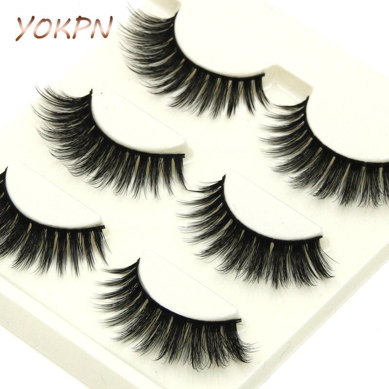 YOKPN False Eyelashes 3D Mink Natural Long Crisscross Thick Soft Fidelity Three-dimensional Fake Eyelashes Fashion Makeup Lashes ...