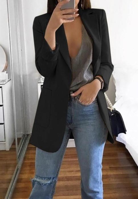 HTB1D40majnuK1RkSmFPq6AuzFXaO Hirigin Brand 2019 New Arrival Women Ladies Long Sleeve Cardigan Slim Jackets Suit Coat Work Jacket Casual Mid Coat Lapel