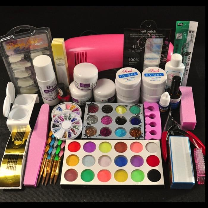 Pro 9W UV Pink Dryer Lamp 30 Colors Acrylic Powder Glitter Nail Art tools Kits att 117free shipping pro 9w white uv lamp 30 colors pure uv gel acrylic brush nail art kits
