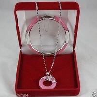 Wholesale price 16new ^^^^New Jewelry pink stone Circle Dragon Pendants Necklace Bracelet Set