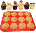 1PCS Red 12 Cavity Silicone Muffin Cups Silicone Baking Pan 12 Cups Round Cake Mold Silicone Mold Cake Round Cake Pan Kitchen