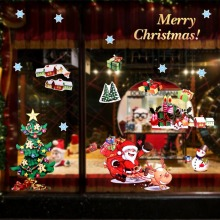 OurWarm DIY Christmas Window Sticker Santa Claus Tree Stickers PVC Decorations for Home New Year Product