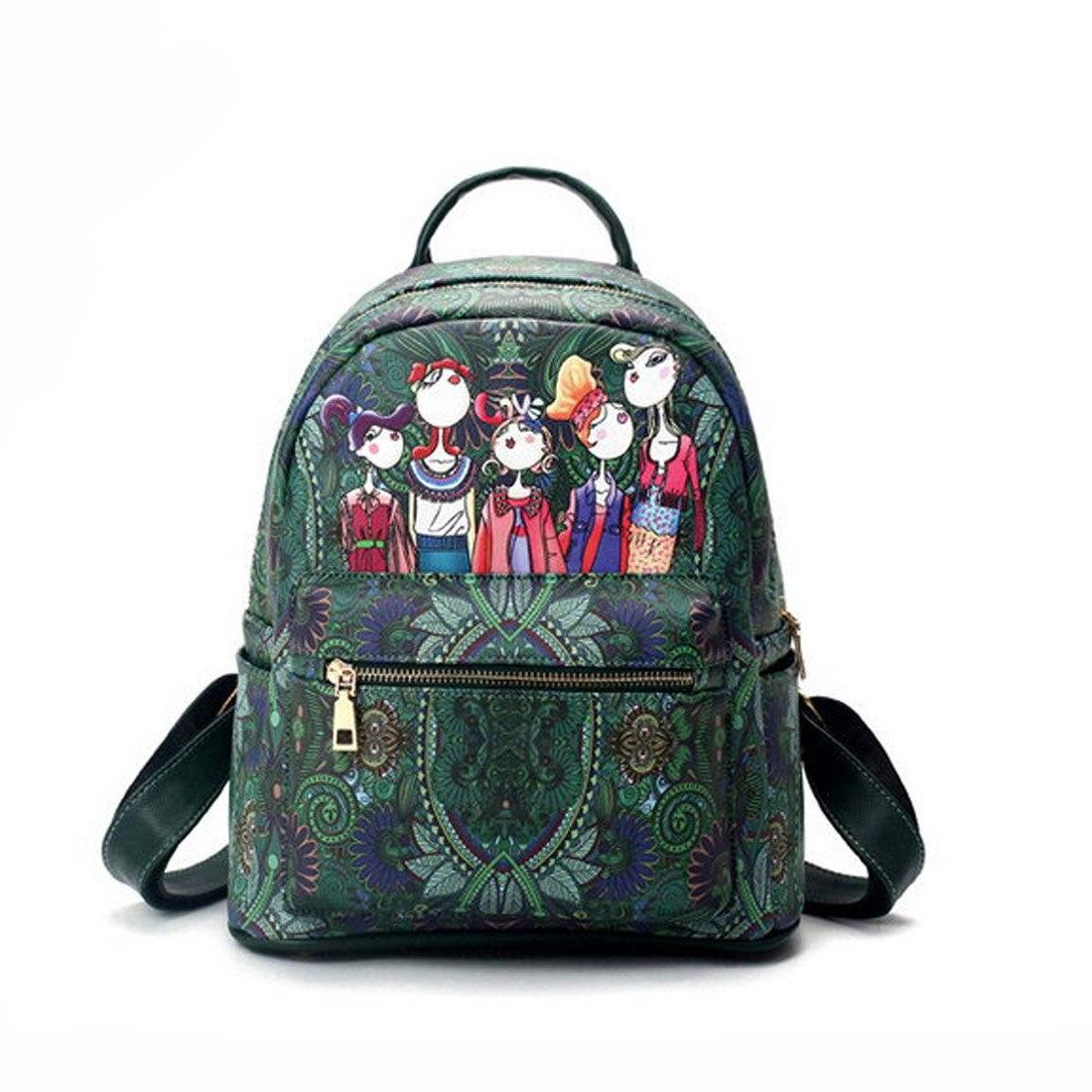 2017 New Printing Backpack PU Leather Women Backpack School Bags For Teenagers Fashion Rucksack Designer Back