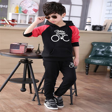 Sell Iots Of 2016 New Boy Girl Suit The Children's Pure Cotton Long Sleeve Hooded Shirt + Pants Exempt Postage Delivery
