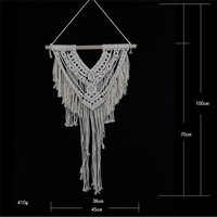 Tapestry Wall Art Handmade Knitting Cotton Rope Wall Hanging Tapestry with Lace Fabrics Bohemian Hanging Decoration Best Gift