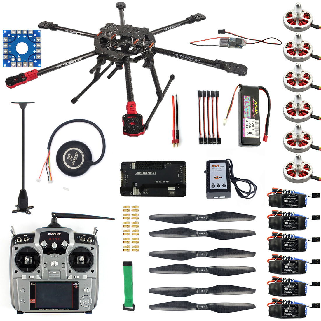 Juego completo F07803 A Drone hexacóptero Kit de aviones de 6 ejes Tarot FY690S marco 750KV Motor GPS APM 2,8 Control de vuelo AT10Transmitter-in Partes y accesorios from Juguetes y pasatiempos    1