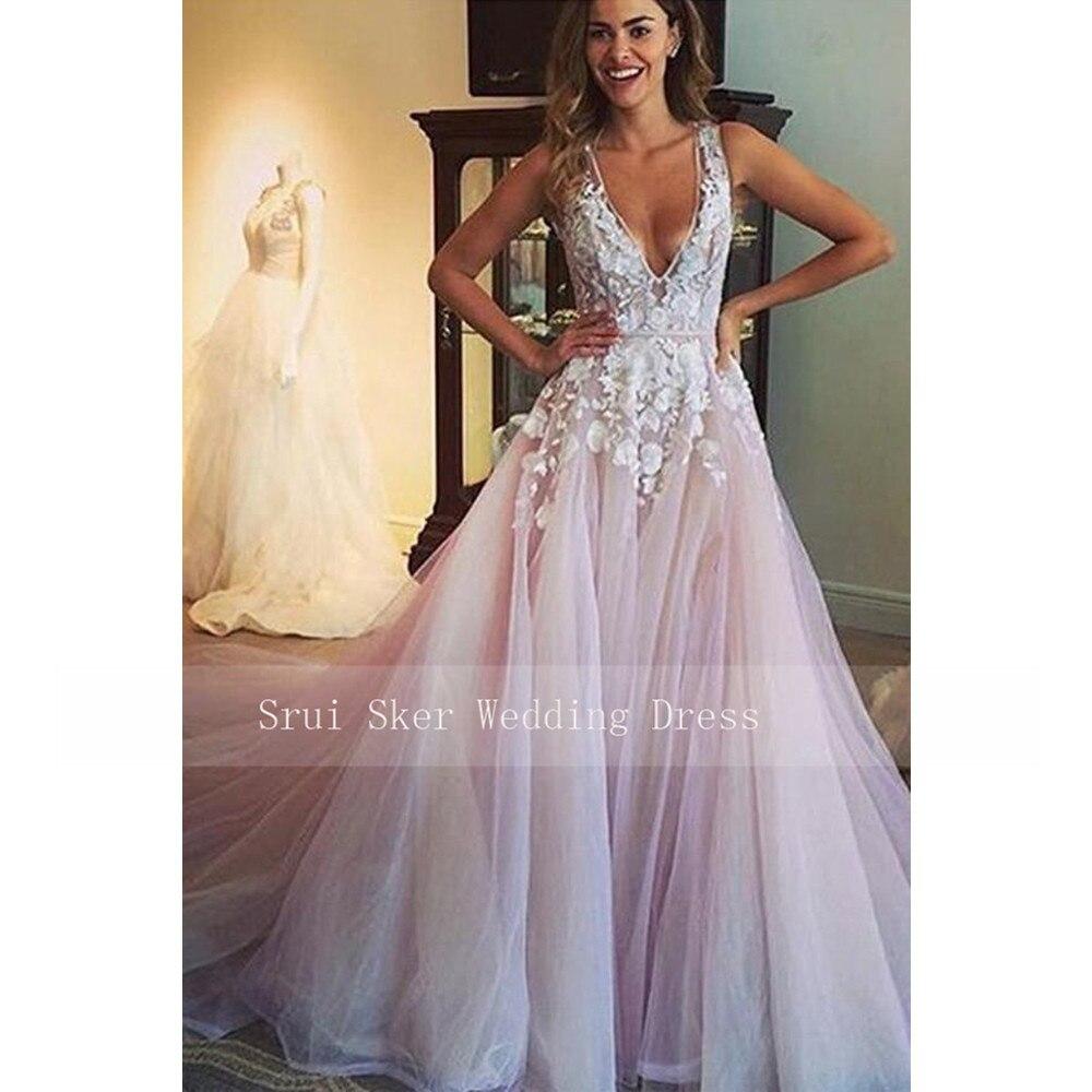 Sexy V-Neck Tulle Wedding Dreses Long Train Cudtom Made Applques Bridal Dress Vestido De Noiva