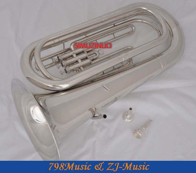 Professional Silver Plated Bb Tuba Horn Monel Valves With 2 Mouthpiece Case New professional double french horn gold f bb keys cupronicekl tuning pipe with case
