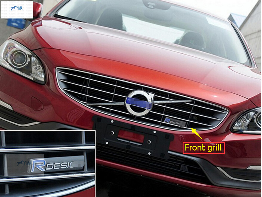 More Fashion ! For Volvo XC60 S60 V60 V40 2014 2015 2016 DESIGN logo Car Grille standard cover trim 3D sticker fischer xc comfort pro 2014 2015 41 silver