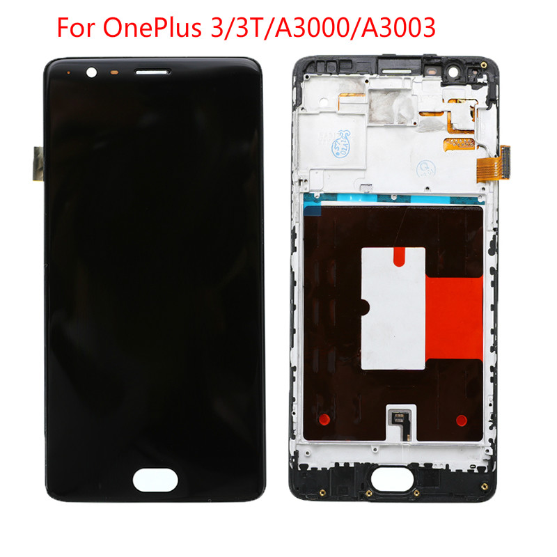 New LCD Display Touch Screen Digitizer Assembly Frame For Oneplus 3 3T A3000 A3003 Black