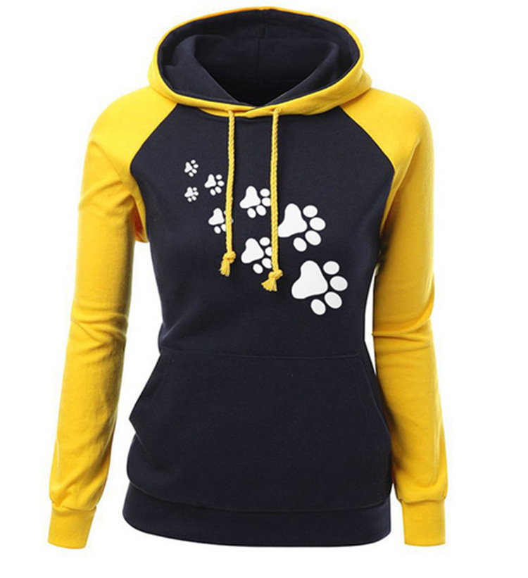2019 mama hot spring long sleeve cat paw print woman clothing sweatshirt fashion solid hooded cartoon female