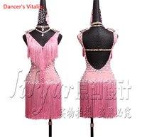 2018 Latin Dance Skirt High Quality Women Size Custom Made Classical Stage Tassel Latin Dance Costume