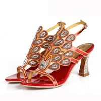 Black Blue Red Rhinestone Gorgeous Summer Sandals Fashion Women Chunky Heel Dress Shoes Size 11 Wedding Party Prom Shoes