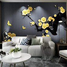 Custom 3D photo wallpaper classical gold jewelry plum background wall paper mural home decoration