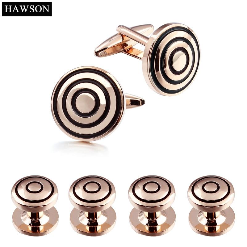 Značka Hawson Cufflink Stud Set Rose Gold Black Smalt Round - Bižuterie