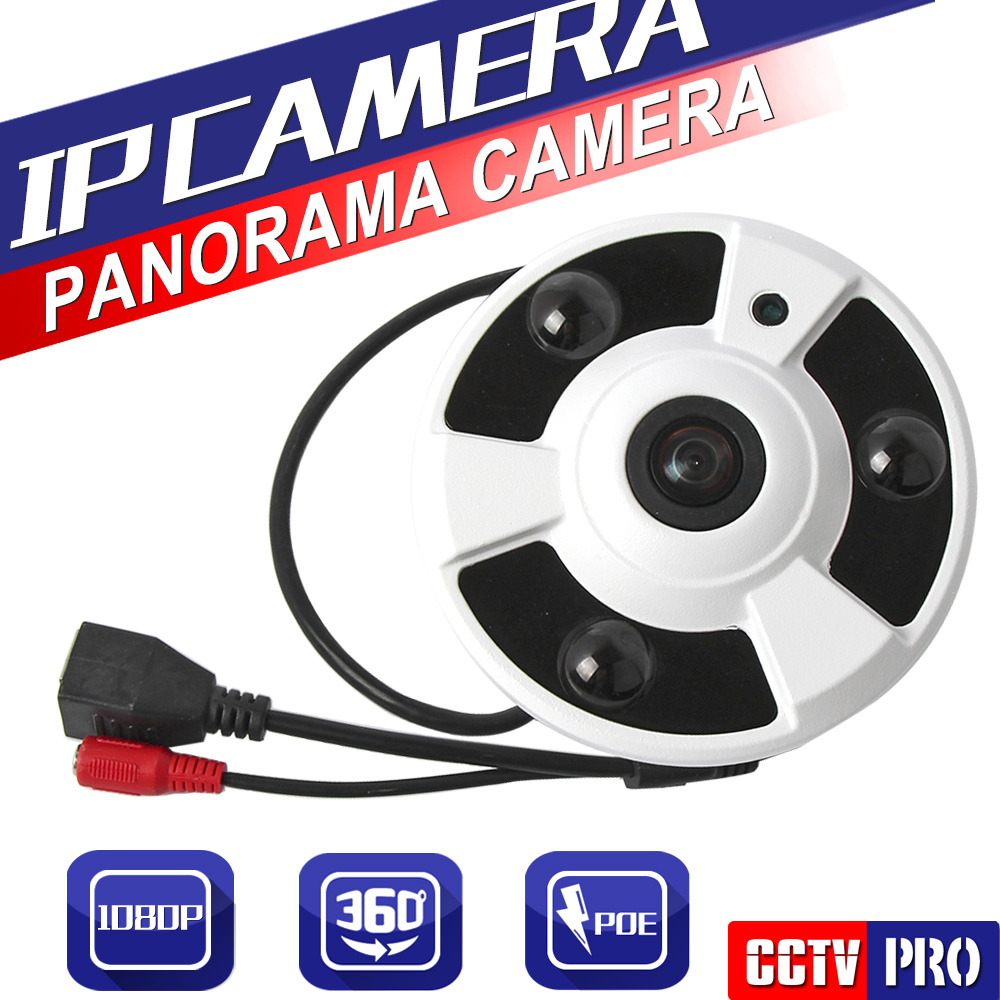 HD 2.0MP POE IP Camera 1080P Indoor CCTV Security Fisheye Full View Wide Angle 360 Degree Cameras P2P Cloud Onvif Phone View 1 to 4 video cutting panorama ir ip camera poe 3mp 360 degrees view fisheye cctv camera support onvif p2p cloud ie view