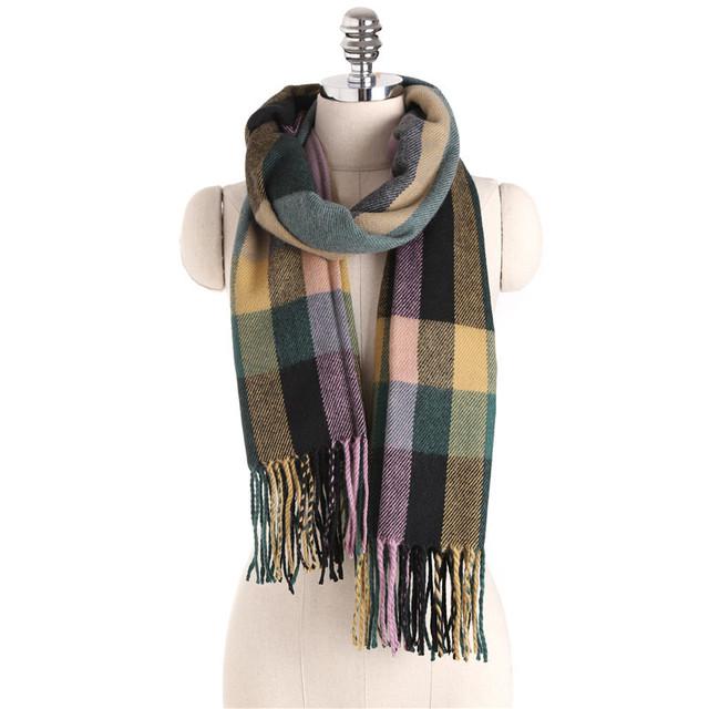 16 Outono E Inverno Nova Fêmea Quente Engrossado Grande Estilo Britânico Xadrez Cachecol Xale Aliexpress