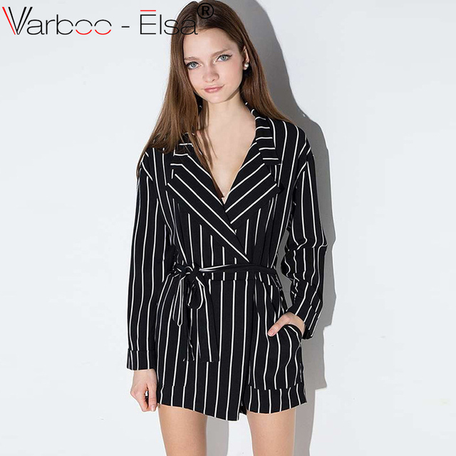 02326fbc10b VARBOO ELSA summer sexy black and white striped jumpsuit romper women V  neck long sleeve overalls 2017 new belt beach playsuit