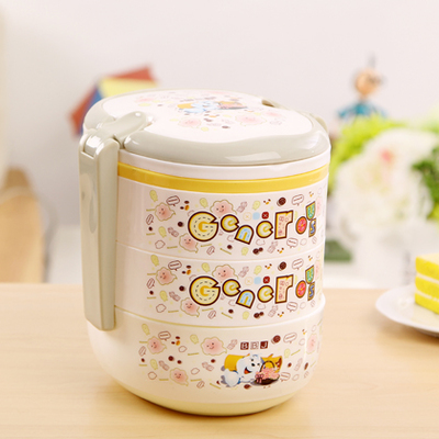 Plastic Cute Cartoon Lunch Bento Box Student Microwave Bento Box Free Shipping