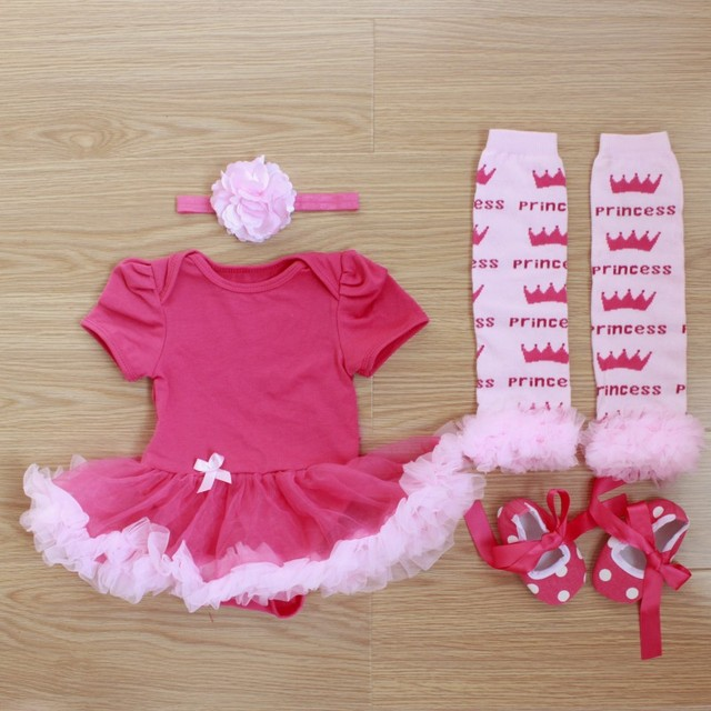 ee8ba1395 4PCs per Set Infant Lace Romper Solid Hot Pink Baby Girls Tutu Dress  Headband Shoes Leggings for 0-12months Free Shipping
