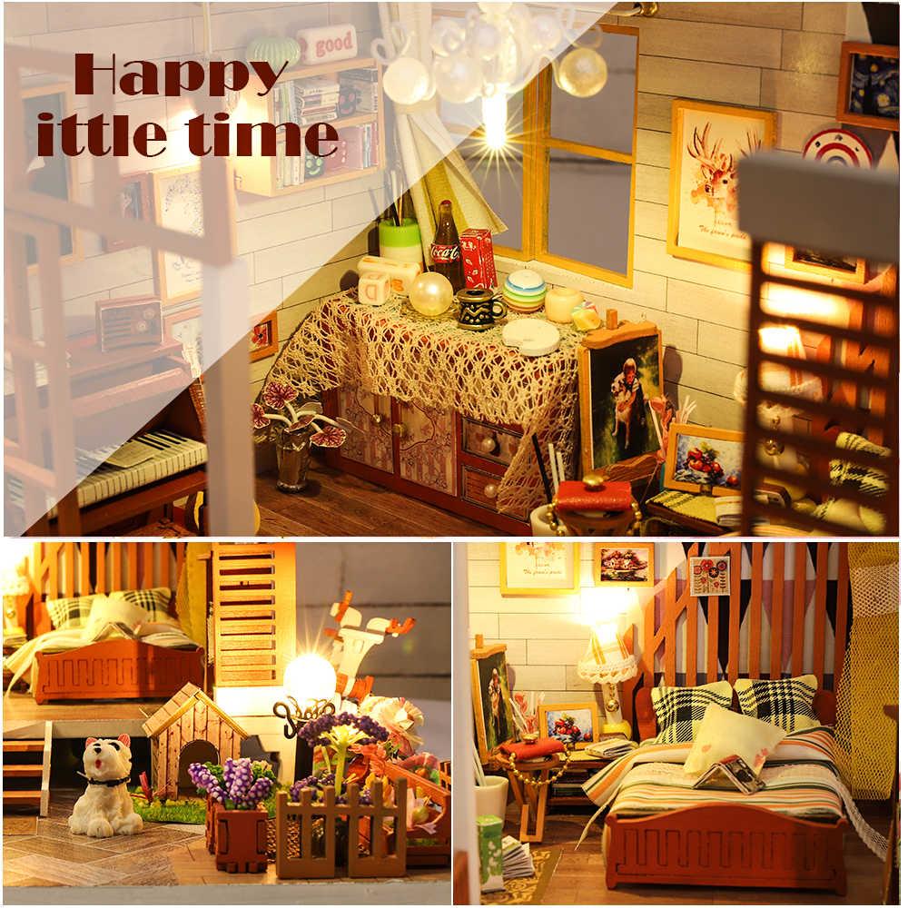 Cutebee Casa Sala de Móveis Casa de Bonecas Em Miniatura Casa de Bonecas Em Miniatura DIY Caixa de Brinquedos para Crianças Casa de Bonecas Teatro A04B