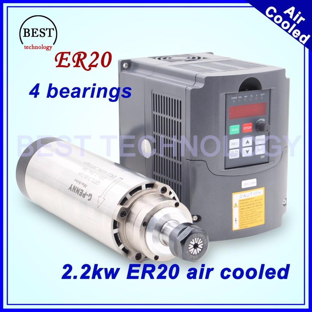 CNC eixo kit 4 ER20 2.2kw refrigerado a ar do eixo fuso de fresamento rolamentos 24000 rpm para a gravura máquina de refrigeração de ar & 2.2kw VFD