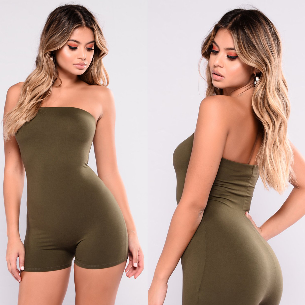 Hirigin 2020 Women Summer Casual Sleeveless Bodycon Strapless Playsuit Short Pants