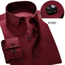d8120acc4 Covrlge ذكر الاجتماعية ربيع جديد الصلبة الفرنسي الرجال اللباس قميص ماركة  الملابس قميص طويل الأكمام الأعمال