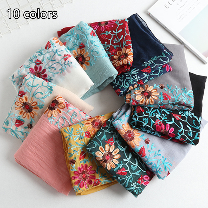 10 colors Ladies embroider floral shawls popular hijab New Fashion Embroidery pattern solid color scarf women pashmina bandana