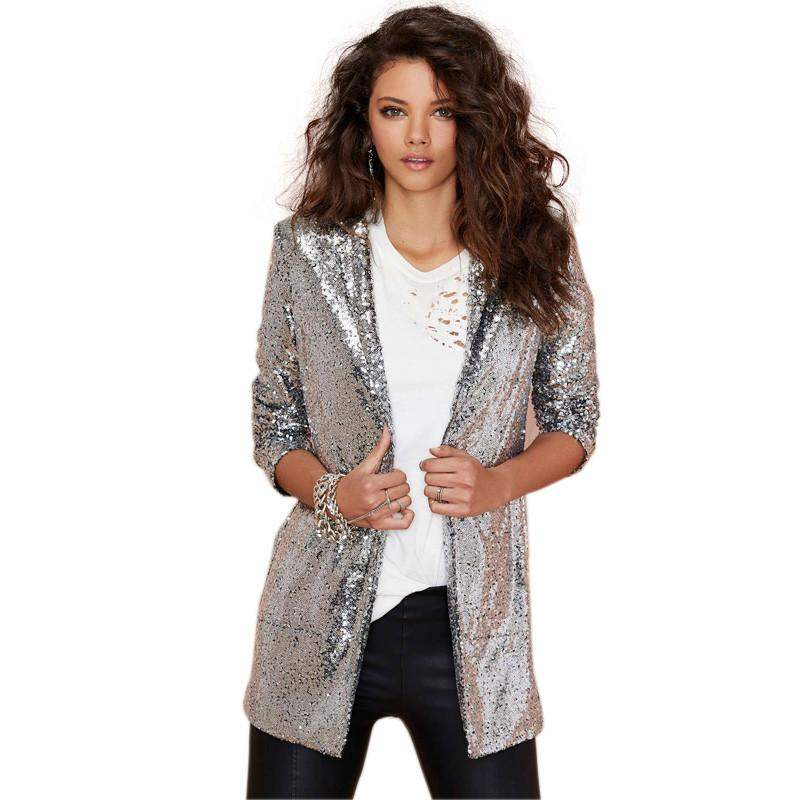 Yifsion Women's Glitter Jacket Suit Blazer Sequin Coat Long Sleeve Shiny Punk Outwear