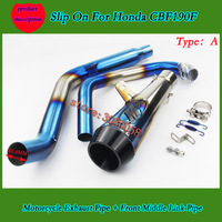CBF190 Motorcycle Exhaust full System Middle Pipe Muffler With Scooter Exhaust And Sticker For HONDA CBF190R CBF190 DB Killer