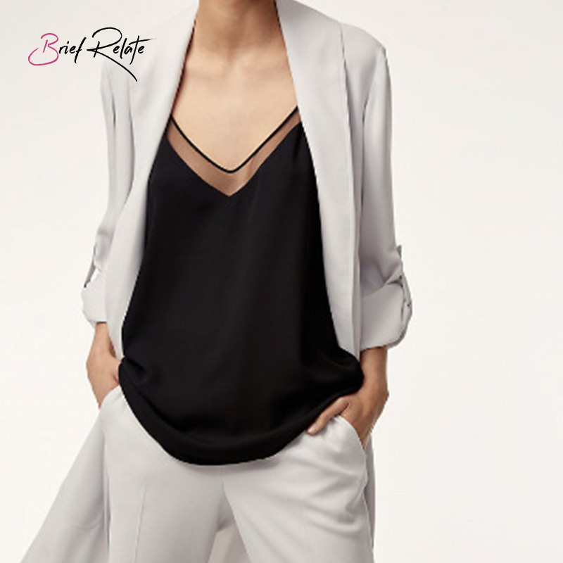 Brief Relate Summer White Sexy Camis Fashion Black Casual Deep V-neck Basic Sleeveless Tank Tops Women Shirt Blouse Pure Colors