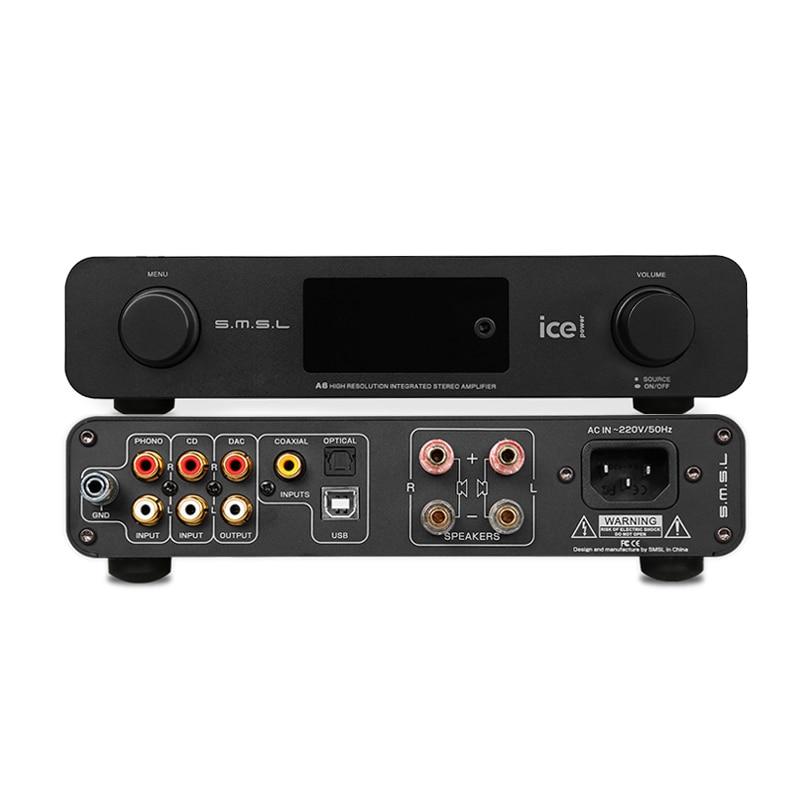 Amplificateur audio smsl a6 amplificateur de puissance préamplificateur haute définition amplificateur de puissance phono dsd usb dac ak4452 xmos décodeur usb amplificateur numérique