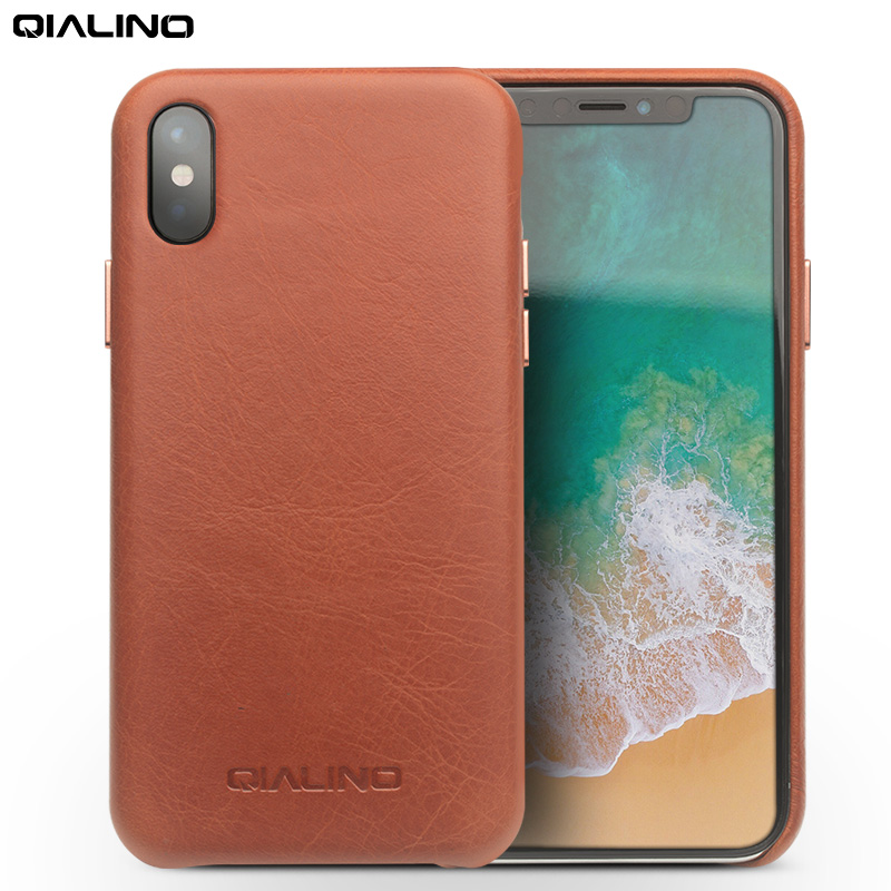 QIALINO Genuine Leather Phone Case for Apple for iPhone X Luxury Business Style Ultra Thin Back Cover for iPhone X for 5.8 inch