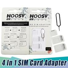 1000 наборов хорошее Кол-во 4в1 Noosy Nano адаптер sim-карты+ адаптер Micro sim-карты+ стандартный адаптер sim-карты для телефона