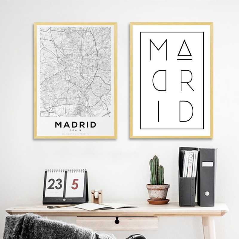 Madrid Spain Map Posters and Prints Wall Art Modern Minimalism Canvas Painting Madrid Typography Picture for Living Room Decor