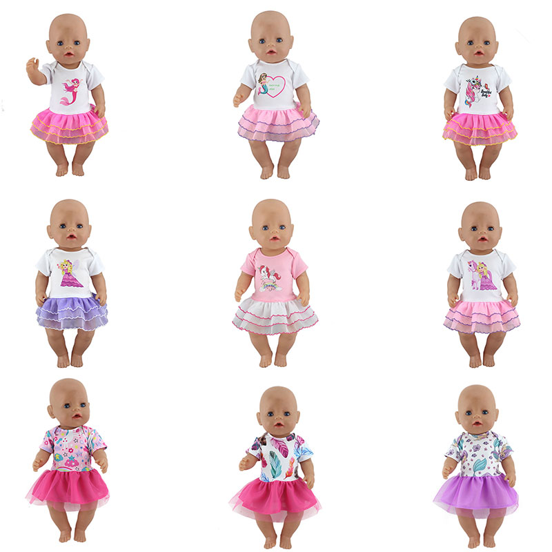 New Lovely Dress Fit For 17 Inch 43cm Baby Doll, Dolls Clothes And Accessories