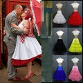 In Stock Ruffled Petticoats Colorful Red White Pink Yellow Blue Underskirt 1950s Vintage Tulle Skirt For Bridal Gowns