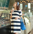 New maternity summer dress stripe pregnant women preppy style bigg sizes tunic dress plus size Korean style pregnancy mini dress