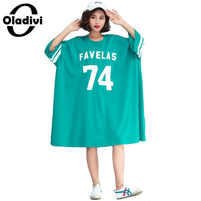 Oladivi Oversized Dress for Women Plus Size Shirt Top Fashion Letter Print Casual Summer Dresses Female Long Tunic 2019 Vestidos-in Dresses from Women's Clothing on AliExpress - 11.11_Double 11_Singles' Day 1