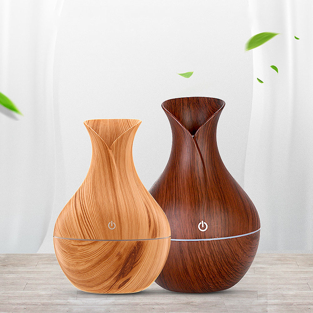 Electric Air Fresheners Aroma Oil Diffuser Ultrasonic Wood Grain Air Humidifier USB Mini Mist Maker LED Light For Home Office