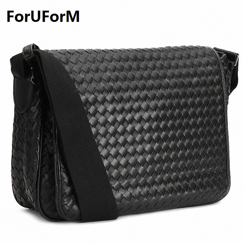 цены  Fashion Korea style Hot Men Messenger Bags Original Design Leather Water-proof Bag Men's cross weave Travel school Bags LI-1034