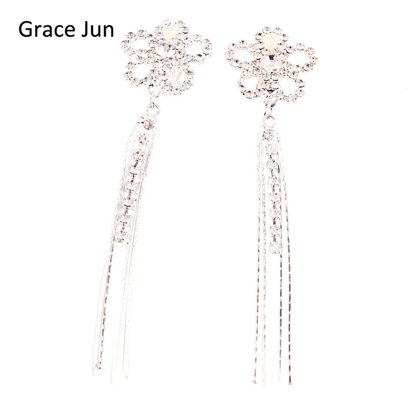 Grace Jun(TM) New Fashion Flower Tassels Rhinestone Clip on Earrings - Fashion Jewelry